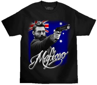 Ned Kelly - Mafioso $A45.00 Sizes: S-3XL Available in black or white http://www.wildsteel.com.au/ned-coloured-tee/