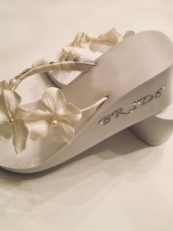 ebf7719f3565 Bridal Shoes Flip Flop Wedges . Wedding Shoes. Beach Wedding Shoes. Bridesmaid  Shoes. Reception Flip Flops. Ivory Wedding Shoes
