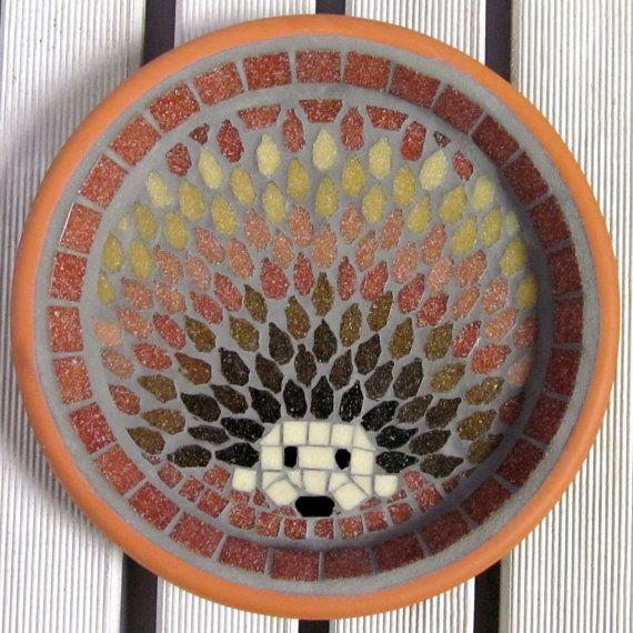 Harvest Hedgehog mosaico giardino cortile uccello acqua bagno