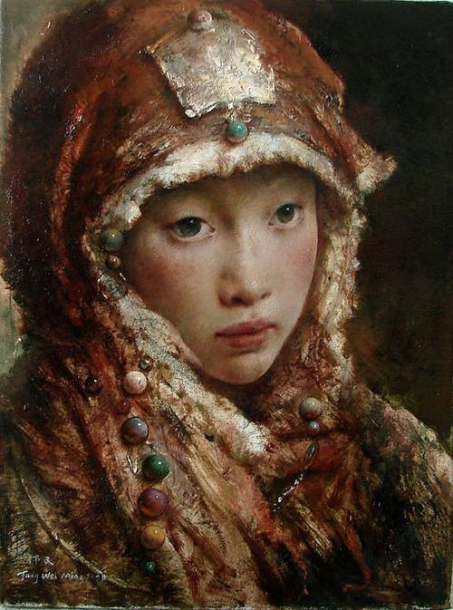 I might have a new favorite artist. Tang Wei Min, Chinese oil painter, captures beautiful ladies in traditional Asian finery. His paintings are modern and historical at the same time. I love how soft they look.: