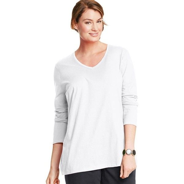 Plus Size Just My Size Long Sleeve V-Neck Tee ($9.99) ❤ liked on Polyvore featuring plus size women's fashion, plus size clothing, plus size tops, plus size t-shirts, plus size, white, plus size v neck tees, plus size v neck t shirts, long sleeve v neck tee and plus size t shirts