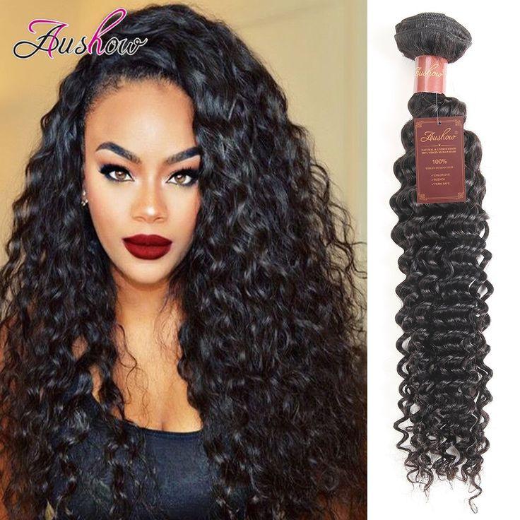 Aushow Hair Brazilian Virgin Hair Deep Curly 1 Bundle 100% Unprocessed Human Hair Extensions Natural Color (20 inch)