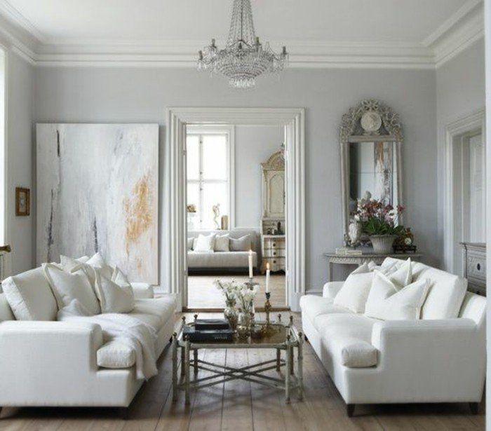 deco salon gris et blanc couleur mur gris clair canaps blancs parquet en