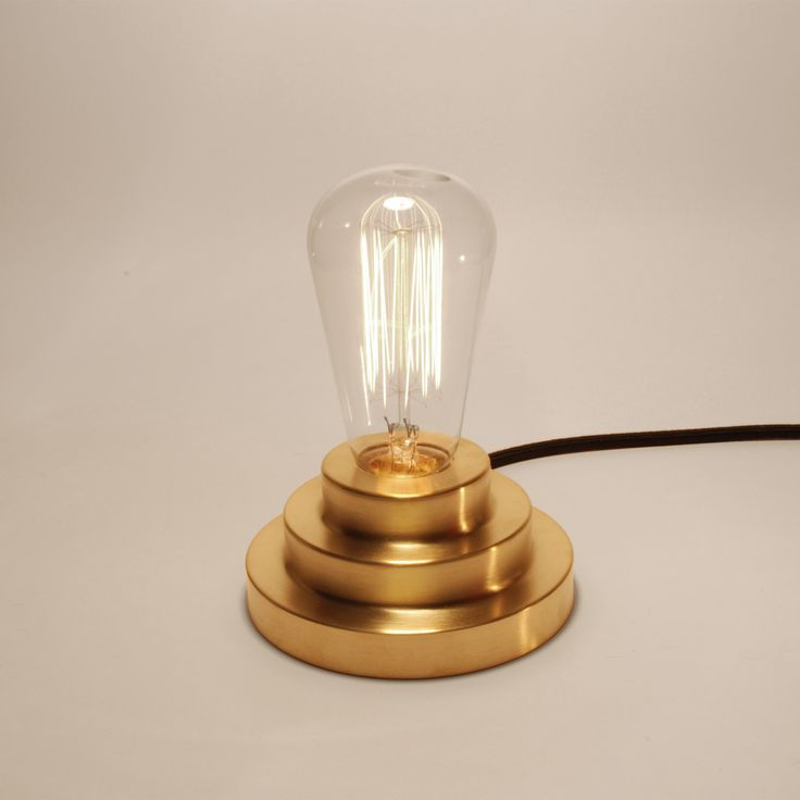 Podium Lamp, spun brass bass, squirell cage vintage bulb, cloth covered cable
