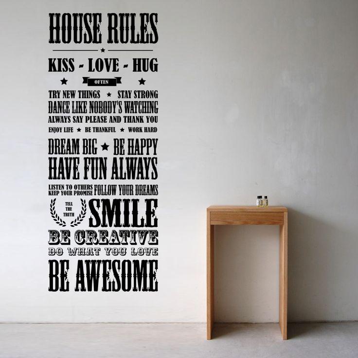 """""""House rules - Husregler """" Väggord / väggtext & väggdekor"""
