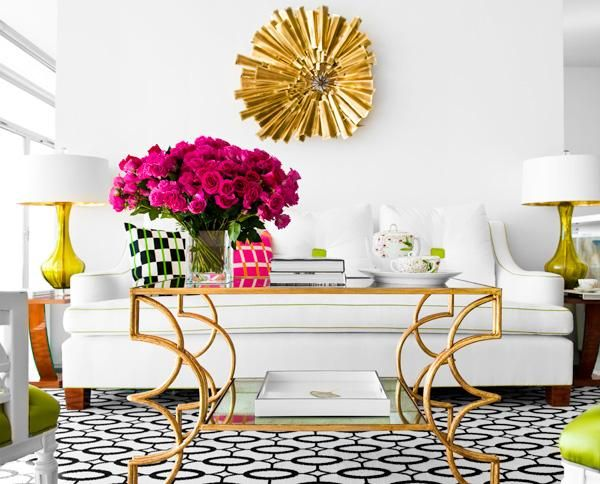 living room, graphic rug, gold table, pink roses, sunburst, mirror, white sofa, home decor, interior design