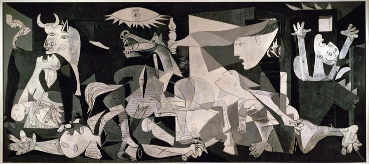 """drawpaintprint:  Pablo PIcasso: Guernica (1937)  137.4"""" x 305.5"""", oil Robert Hughes:    Picasso's Guernica, 1937 is the last of the line of formal images of battle ad suffering that runs from Uccello's Rout of San Romano through Tintoretto to Rubens, and thence to Goya's Third of May and Delacroix's Massacre at Chios. It was inspired by an act of war, the bombing of a Basque town during the Spanish Civil War. The destruction of Guernica was carried out by German aircraft, manned by German…"""