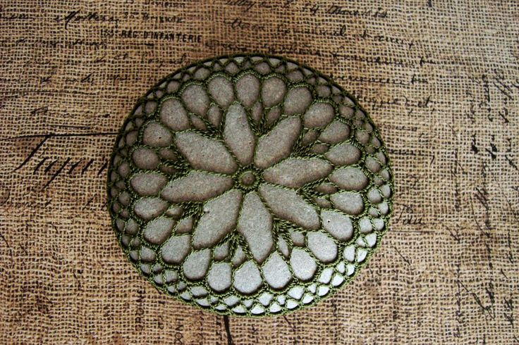 Knot By Thread Alone - Crochet Covered Stones!  These unique lace stones look lovely lined up along the edge of a table or stacked on top of each other.