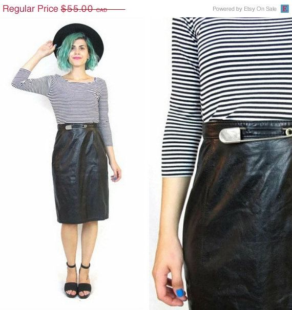 30% off SALE Shopwide 80s Black Leather Pencil Skirt High Waisted Avant Garde Punk Rock Paneled Safety Pin Leather Skirt (XS)