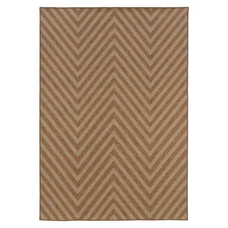 Indoor/Outdoor Wide Chevron Area Rug - Brown/Ivory (8'x11'), Beige