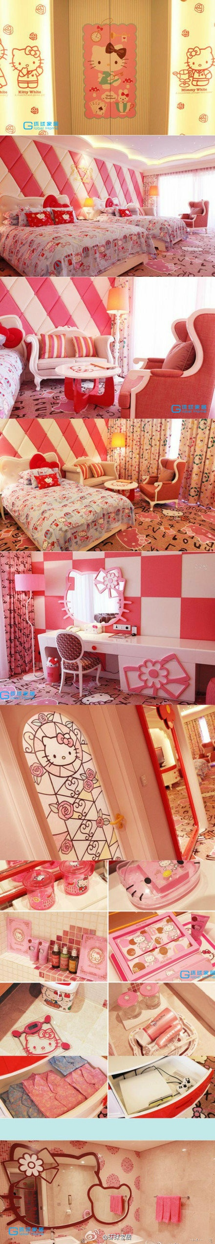 Hello Kitty decorated hotel! How adorable, Hello Kitty Furniture, Bedding, Pictures and more! #HelloKitty #HelloKittyHotel #HelloKittyDecor