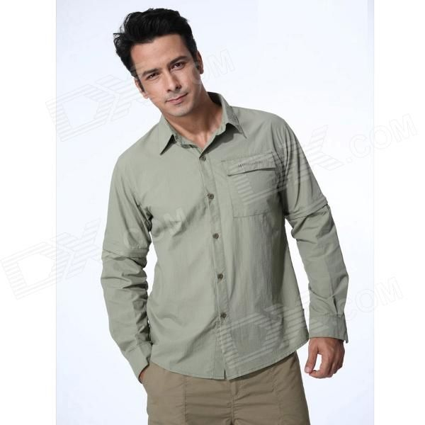 Brand: Naturehike; Model: GS01-M; Gender: Men; Suitable for: Adults; Color: Light green; Material: Polyester; Size: L; Features: Quick drying; Quantity: 1; Other Features: Length: 76.5cm; Chest: 105cm; Shoulder: 48cm; Sleeves can be removed into half sleeves; Packing List: 1 x Shirt; http://j.mp/1lkxuam