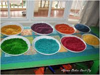 TUTORIAL : How to Make Rainbow Coloured Rice (Without Alcohol) I'm going to make this colored rice for the kids so that we can try some rangoli designs for Divali on Sunday!