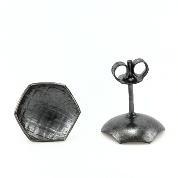 Quilt Studs oxidised sterling silver