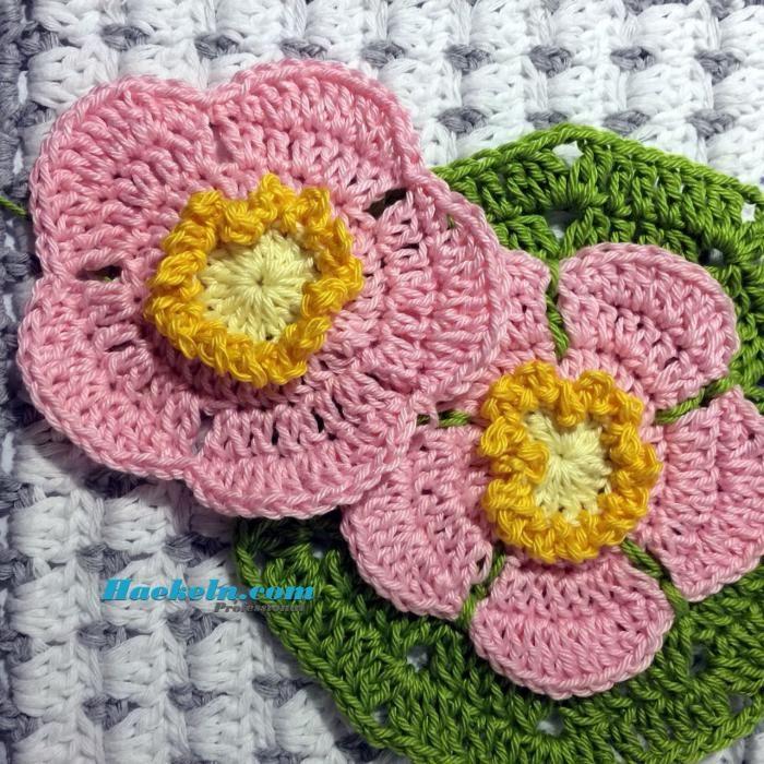 Häkelapplikation Wildrose häkeln ♥ Kostenlose Anleitung  #häkeln #anleitung #vorlage #häkelanleitungen #applikation #rose #wildrose #lernen #umsonst #gratis #kostenlos #diy #crochet #crochetpattern #patterns #free