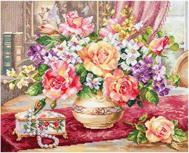 "/""Roses in the living room/"" Counted Cross Stitch Kit ALISA 2-50"