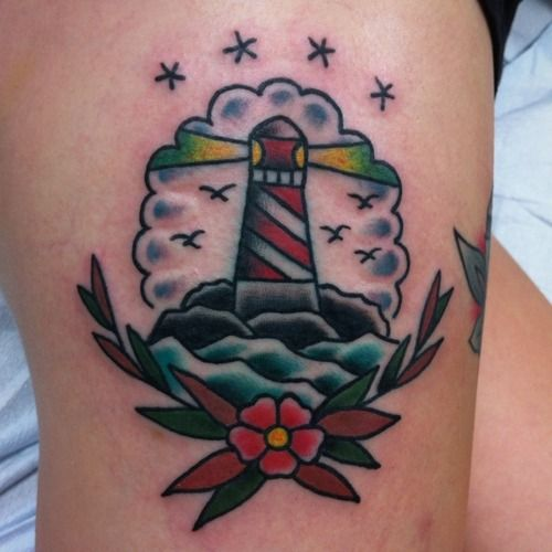tattoo old school / traditional ink - lighthouse (by Mike Mendes)