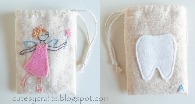 Cutesy Crafts: Muslin Tooth Fairy Bags