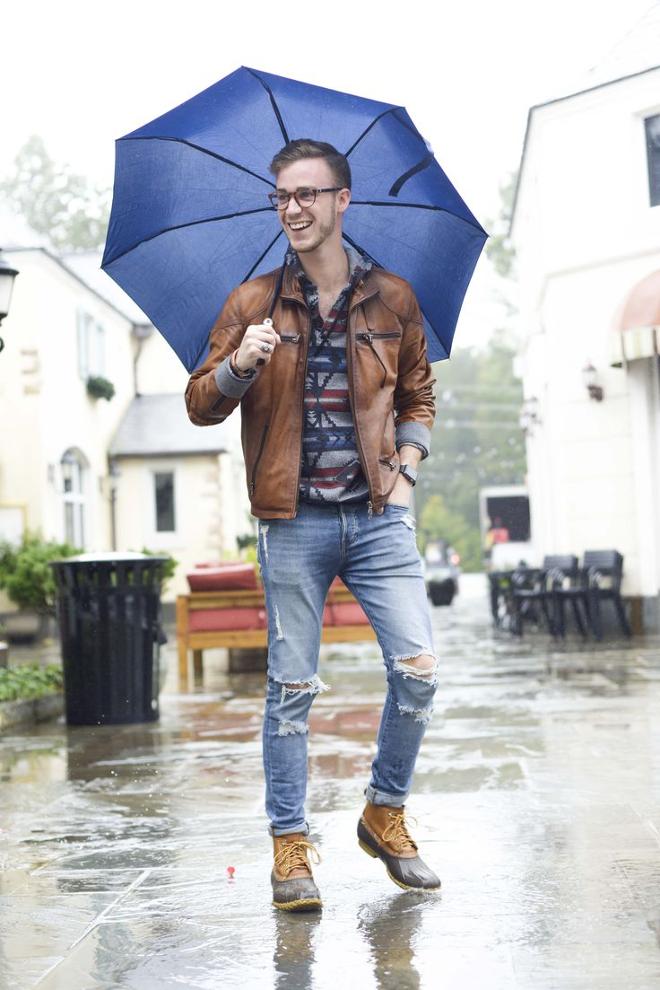 Rain Rainy Day Male Model Men's Fashion Duck Boots Leather Jacket Hoodie Distressed Jeans Outfit Umbrella