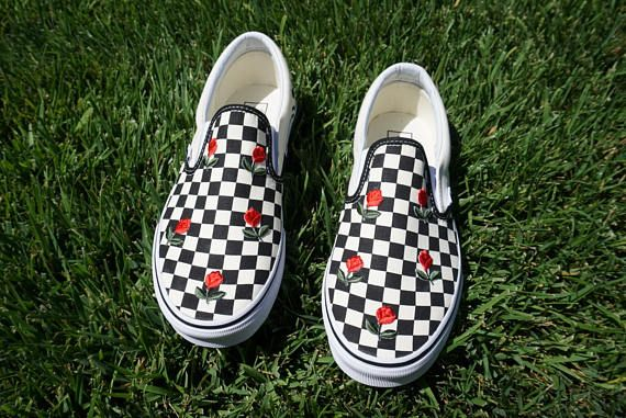 Checkered Slip On Vans Mini Rose Shoes Embroidery Shoes