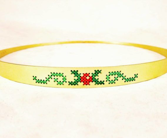 Boho Chic Complementary Crowns (Stefana) with traditional cross-stitch patterns made of premium quality cotton threads