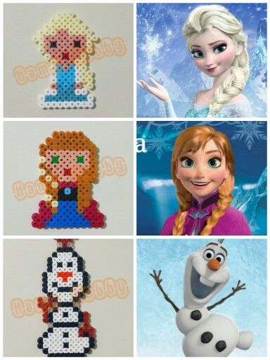 Disney Frozen Elsa, Anna and Olaf hama perler beads by Irene De SaGon - Www.facebook.com/hamabeadshobby