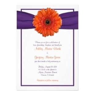 dark orange gerber daisy wedding flowers | Purple Wedding Invitations ø Orange Gerbera Daisy Purple Wedding ...