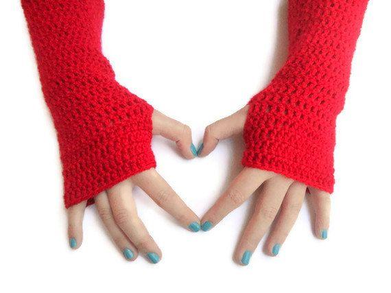 SALE New hand crocheted Fingerless gloves red gloves long by seno, $25.00