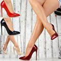 Neu Spitze Damenschuhe Party Glanz Lack Pumps Damen High Heels XXL Stiletto