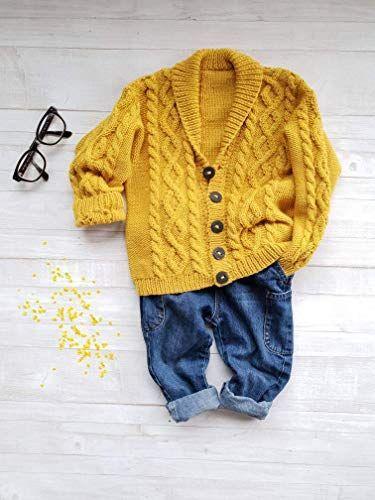 e2b7fa09e Amazon.com  Knitted shawl collar cardigan in merino wool for kids ...