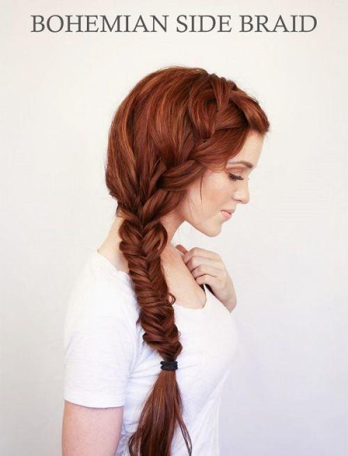 Linda trança lateral para cabelos longos! Ficou linda nesse cabelo ruivo maravilhoso!