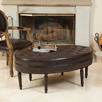 Fielding Brown Leather Oval Ottoman - Christopher Knight Home