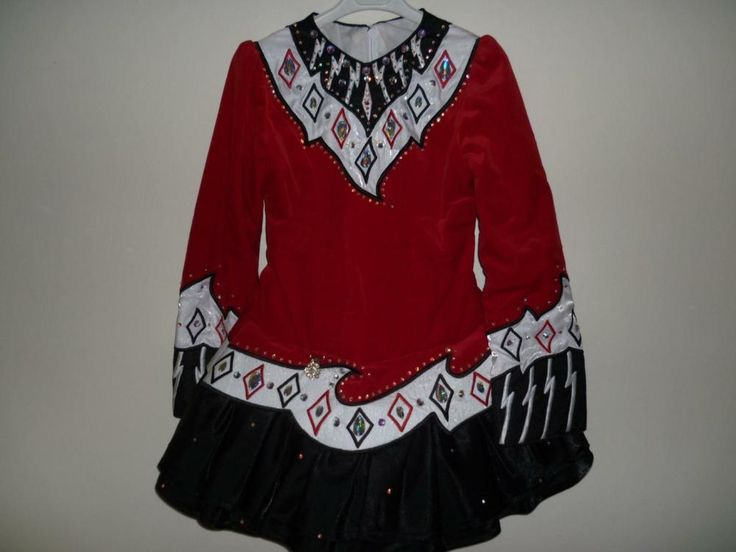 Spectacular Red Kilkenny Creations Irish Dance Dress Solo Costume For Sale