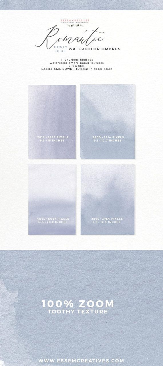 Dusty Blue Wedding Invitation Background Watercolor Ombre Etsy