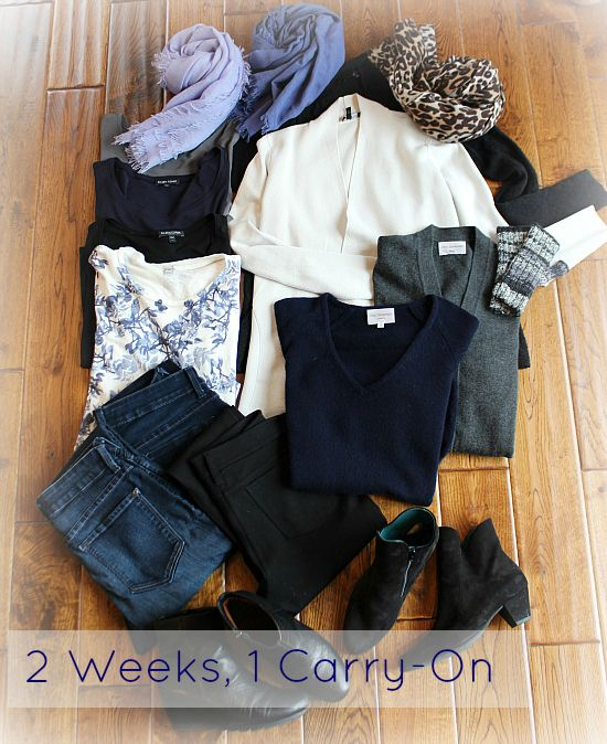 The 12 Piece Travel Wardrobe. To refer to for the next trip - maybe we can keep a week to only a suitcase per person?