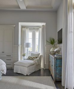 Bedroom Reading Corner. Bedroom nook reading corner. Inviting reading corner nook with white chaise lounge. Windows are dressed in white cotton curtains. #bedroom #readingcorner #bedroomnook bedroom-nook