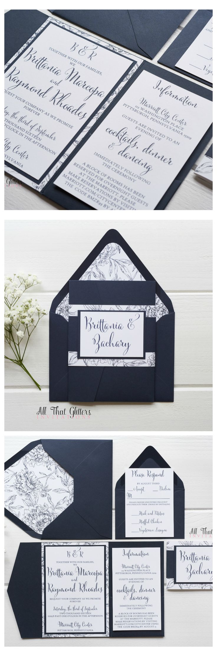 Our floral, rustic Brittania suite makes our hearts SWOON! This wedding invitation suite can be customized to fit your wedding theme, but this invitation is STUNNING in navy!