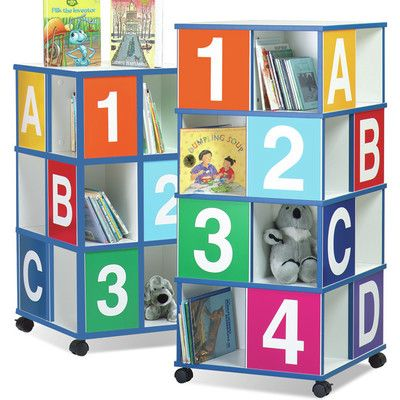 "Children's Furniture Co 4-Tier ABC/123 40"" Book Cart"