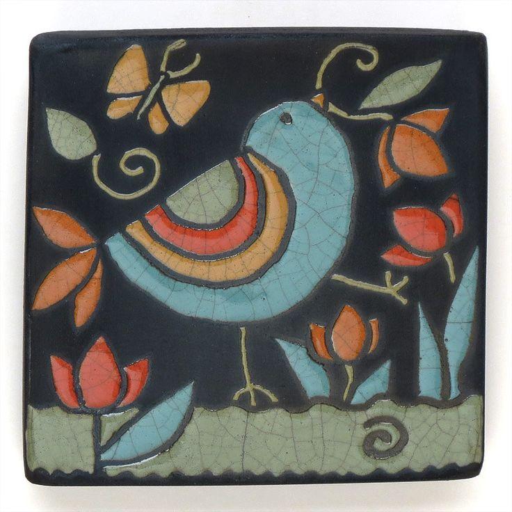 Bird,Ceramic tile, yellow,red, handmade 4x4 raku fired art tile, via davisvachon.etsy.com.