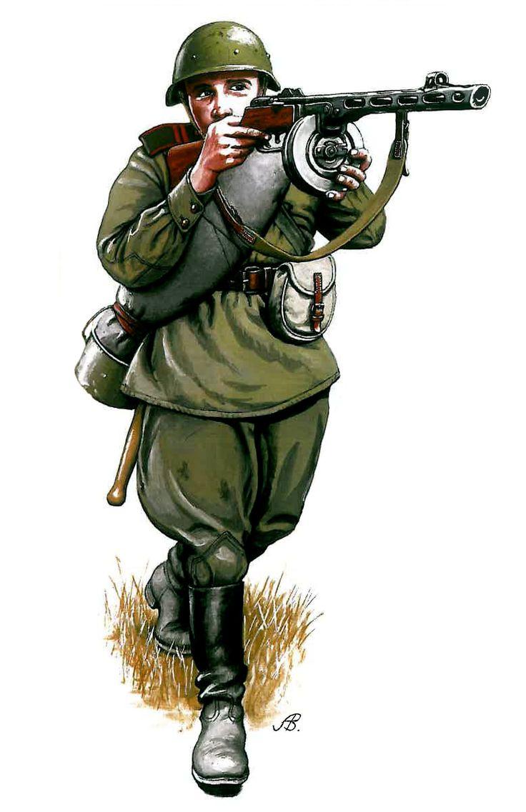 ARMATA ROSSA - Sergente di fanteria all'assalto armato con mitra  PPSh-41, casco mod. 1940 e uniforme tipo 43 - battaglia di Kursk 1943