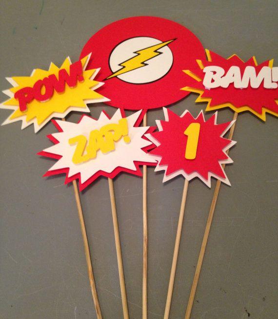 The Flash Centerpiece, 5 pc, Superhero party, Batman  Party, Batman  Birthday Party