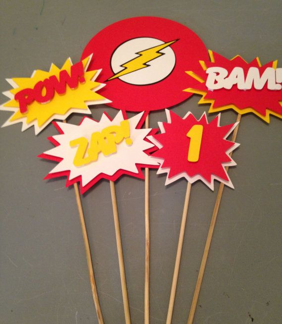 The Flash Centerpiece, 5 pc, Superhero party, Batman  Party, Batman  Birthday Party
