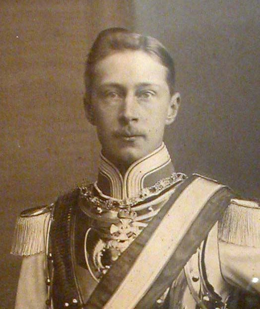 Crown Prince Friedrich Wilhelm of Germany (6 May 1882--20 July 1951), eldest child of Empress Augusta of Germany, nee Princess of SHSA and her husband Kaiser Wilhelm II.  CP Friedrich Wilhelm would never rule the German Empire as his father lost power during WWI.  He would marry Princess Cecilie of Mecklenburg-Schwerin and have 6 children, 4 sons and 2 daughters.
