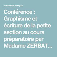 Conférence : Graphisme et écriture de la petite section au cours préparatoire par Madame ZERBATO POUDOU - Atelier Canopé de l'Essonne