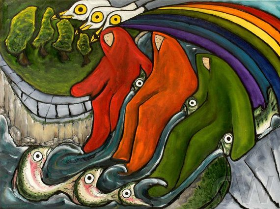 Signed Numbered Oil Painting Giclee Print Rainbows  by by OSOhome, $51.00