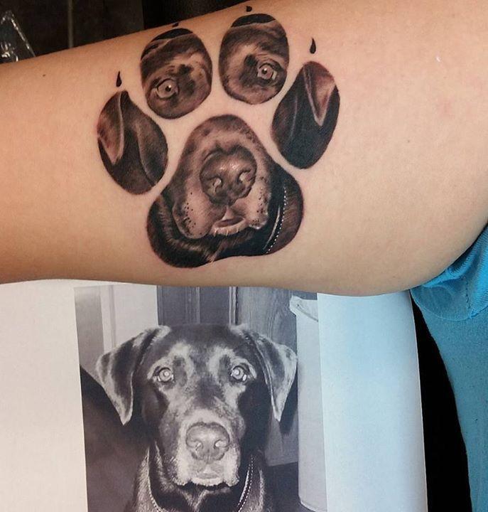 Dog paw portrait memorial tattoo
