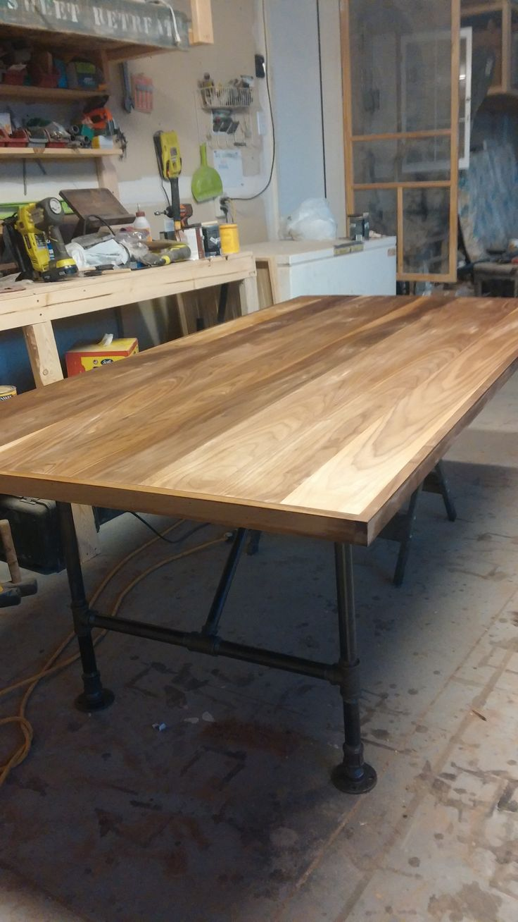 Charming Beautiful Walnut Wood, No Stain, With Pipe Legs On Half And Will Attach To. Conference  TableWalnut ...