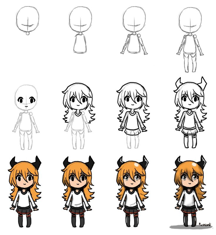 Draw chibi step by step by pushimo drawing ideas for Drawing ideas for beginners step by step