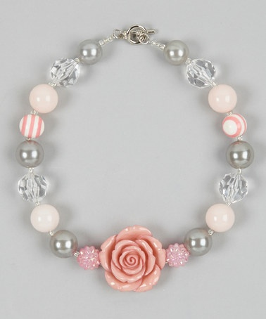 Take a look at this Rose & Gray Rose Bead Necklace by Whitney Elizabeth on #zulily today!