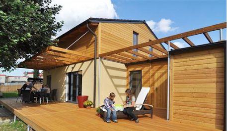 Maison bois POP de 124m² mixte enduit bois  en Île de France Réalisation Woodiance